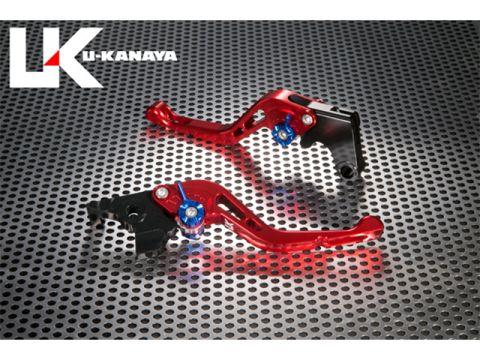 U-KANAYA GP type machined aluminum billet Short lever (lever Color: Red) Adjustment Adjuster Color: Silver