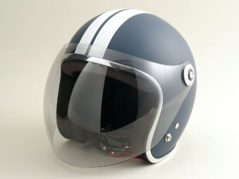 BikeBros. BH-2001 バブルシールド付きスモールジェット GT カラー:マットネイビーGT サイズ:L/59-60cm未満