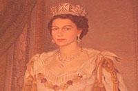 大使公邸内にあるエリザベス二世女王の肖像画