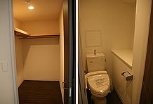 かさばるバイク用品はウォークインクローゼットにひとまとめ! トイレには棚が設置されるなどかなりのスペースを設けている。