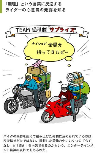 ライダーがたくさん荷物をバイクに無理やり積載するのはなぜ?