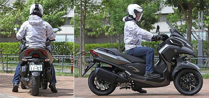 【ヤマハ トリシティ300 試乗記】フロント2輪で抜群の安定感と自然な旋回性を誇る「LMW」に自立サポート機能を装備したニューモデルが登場の22画像