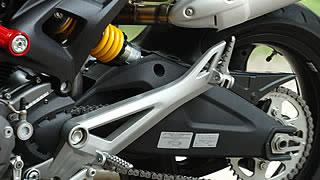 スーパースポーツイメージを強く感じさせるスイングアームと、新たにリンクレス式となったリアサス。ザックス製のユニットは左にややオフセットされる。大きめのステッププレートは空冷モンスターらしいデザイン。