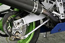 トルクロッドを車体側で支持するフローテイングマウント式リアキャリパーを装備。スズキGSX-R750での採用以降、注目されたシステムだ。