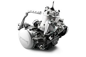 構造のシンプルさから来る軽量さと大排気量によるパワーを絞り出す2ストローク300ccエンジン。リードバルブの変更などを受けている。