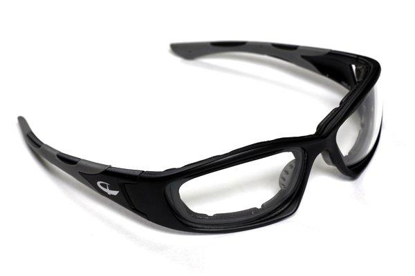D-2001はスポーツ用アイウェアやオフロードゴーグルで有名な「SWANS」とコラボしたモデル。ヘルメットをかぶってのフィット感も良好だ。