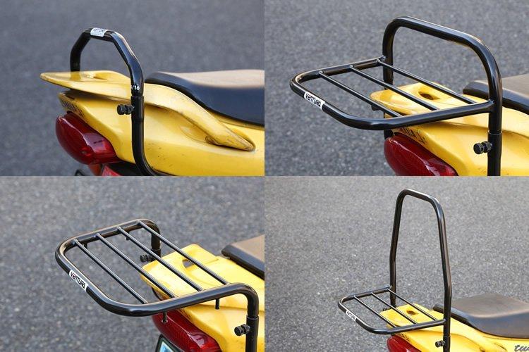 グラブハンドルを基本に、上部を差し替えるだけで4通りに変化する。右上のスポーツラックは日常での使用などに。左下のフラットラックはボックス装着用キャリアに最適。右下は大きなバッグを装着できるパックフレーム。