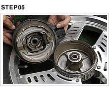 ブレーキシューとブレーキパネルをホイールハブから取り外す。中に溜まっているシューの削りかすは吸い込むと大変なので、ブレーキクリーナーを吹き付けてウェスで拭き取る。