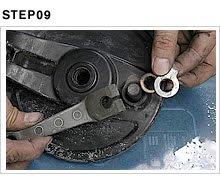 ブレーキカムにセットされたブレーキアーム、インジケータプレート、フェルトを外す。カムとの合わせ部分にはスプラインが刻まれ、ポンチマークで合わせ位置が記してある。