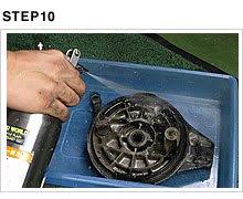 ブレーキパネルを洗浄する。ざっくり洗浄するには中性洗剤と水でゴシゴシこすると早い。古いグリスが固着している場合はパーツクリーナーを併用する。