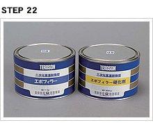 エポフィラーは主剤1㎏と硬化剤0.5㎏がセットとなり、使用時には両者を2:1の割合で混合する。今回の作業では、トータルで主剤45g、硬化剤22.5gを使用。