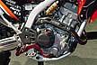 カバーやペダルなどのアクセントで引き締まった印象に。エンジン横にはリアサスペンションのリザーバタンクも見える。