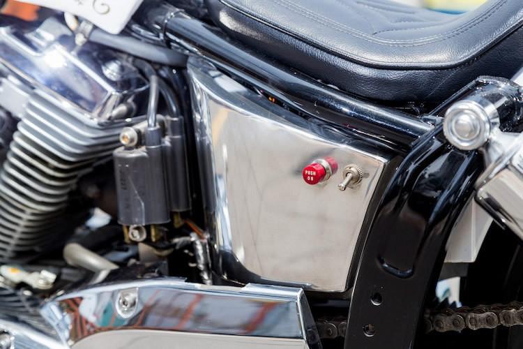 スネーク柄のシングルシートはワンオフ製。派手な柄がマシンの大きなアクセントとなっている。