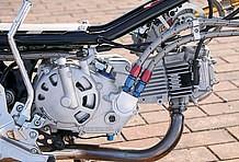 スーパーヘッド+Rやレーシングクランクなど、武川製で武装されたエンジンは、スカッとしたフレームと対照的な重厚感を見せる