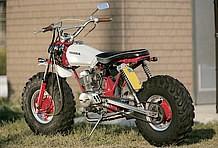 2本サスペンションであることからエイプではないことを認識できるが、ここまでファットだとパッと見たミニバイクとは思えない迫力!