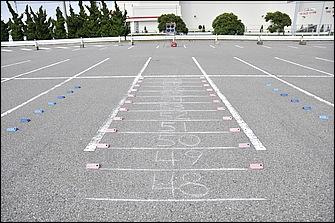 白バイが行う回避制動では、進入速度に応じて停止位置が決められている。速度が高ければ物理的に制動距離も伸びるため当然、停止位置も変わってくるからだ。
