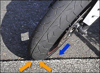 もし路肩などに止めるときは、ハンドルを左に切った状態で前輪を縁石に当てておくとさらに安心。たとえバイクがわずかに動いたとしても、縁石が輪止めになってくれます。ただし路面の傾斜がきつい場所は避けましょうね。