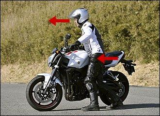 右回りの場合、自分からバイクが遠ざかるとともに自分のほうに傾いてきて、支えるのが辛くなります。ポイントは体ごと曲がる方向、つまり右側に向けていくこと。常にバイクから離れず、タンクにお腹を当てておけば安定感はぐっとアップ。