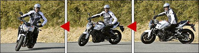 バイクには、車体を傾けたほうに自然にステアリングが切れていく、セルフステアという特性があります。上半身をフレキシブルに保ち、なるべくハンドルを腕力で押さえないようにするのが、セルフステアを引き出すコツです。これを体験するには、片手で低速ターンしてみるといいでしょう。ハンドルが『ガクッ』と切れる感覚が分かればしめたものです。