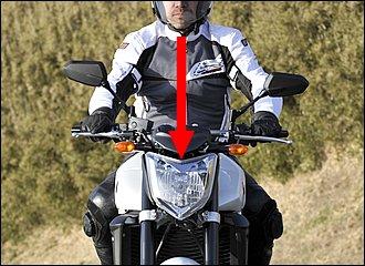 自分ではバイクの真ん中に乗っているつもりでも、意外と頭の位置がイン側やアウト側にずれていることがあります。着座位置もしかり。直進しているときはまだしも、コーナリング中はだいたいイメージどおりにはいかないものです。