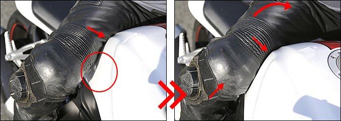 【左】ハングオフ・フォームでは外足でタンクをホールドしますが、基本はヒザというより内腿でタンクの後端部をしっかり押さえておくイメージです。ブレーキング時などは特にこのホールドが大事。着座位置が前にずれるのを防ぎます。【右】ブレーキングが終わって、バイクを倒し込んでいくときは、外ヒザを積極的に使っていきます。タンクの横を押しながら上に持ち上げるような動きで、ちょうどサッカーでいうボレーキックのようなイメージ。倒し込みのキッカケを作ります。