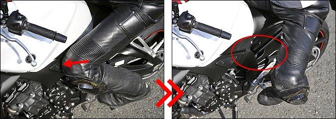 【左】イン側のヒザについても、ブレーキング中はタンクに当てておくほうが押さえは効きます。人によっては開いたままブレーキングする場合もありますが、よほど外足ホールドが確実にできていないと難しいでしょう。【右】倒し込みではイン側のヒザのホールドを解いてハングオフに持ち込みます。慣れてくると、ヒザを開く勢いをキッカケ作りに利用することもできます。このとき爪先は開かず正面かやや車体側に向けるぐらいがコツ。