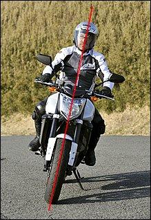 コーナリング中のフォームは、車体の傾きとライダーの上半身が同じ角度になるリーンウィズが基本。久々にバイクに乗ったときなども、まずはリーンウィズで感覚を慣らしていきましょう。実際の走行では、顔は目線と一緒にコーナーの先に向けるようにします。