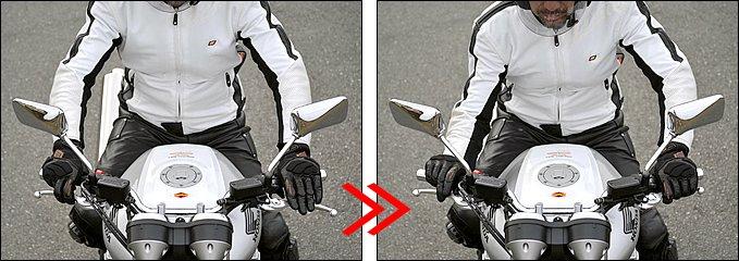コーナーが近づいてきたら、前後ブレーキで減速しながらクラッチレバーに指を伸ばします。ブリッピングシフトダウンではブレーキレバーを操作しながらスロットルを煽るため、指は2本がけが有利。クラッチレバーにかける指はレバー形状やクラッチの重さなどによって使い分けています。①クラッチレバーを引く ②スロットルを煽る ③ギアダウン というのが正しい順序ですが、実際には各操作をほぼ同時のタイミングで行います。各々の操作にタイムラグがあるとギクシャクの原因に。スロットルを煽ったときに、勢いでハンドルを手前に引かないよう注意しましょう。
