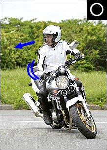 車体垂直でのUターンで操作系の扱いに慣れてきたら、少しずつ車体を傾けていきます。ポイントは「上体を曲がりたい方へ向ける」こと。両肩のラインをハンドルと並行に持ってくることで、内側の腕に余裕が生まれます。小さく曲がろうとするほどハンドルも切れるため、上体も大きく向けるように意識します。目線はさらに極端に90度ぐらい先に向けるようにしましょう。