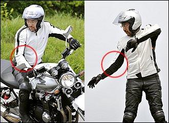 通常のUターンは右回りなので、まずはこちらから習得しましょう。車体を傾けるほど右手は低くなります。握りの角度が辛くなる場合はグリップを握り変えましょう。右グリップが遠い場合は、人差し指と親指で軽く握るイメージにすると楽です。左手に合わせて左肘を高く構えると懐にゆとりができます。