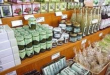 入り口の正面に建つ「ならかわ市場」では、特産品の「さるなし」を使った加工食品や季節の地物野菜を豊富に揃えて販売している。「さるなし」を使った商品は他ではあまり見かけないのでお土産にオススメ。
