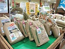 地場産のコシヒカリや野菜、花などがズラリと並ぶ売店はおすすめです。