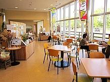 軽食レストランは府道19号線に面しており、明るく開放的でとてもすごしやすいです。