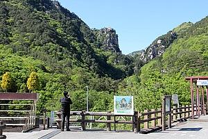 山梨の名勝「昇仙峡」。ある程度観光地化しているので、走ってきた秘境ルートとまったく趣の異なる場所です。紅葉の時期など、素晴らしいと思います。