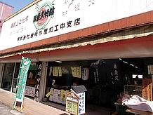 大きな鯛の絵の看板が目印の岩崎水産加工店。