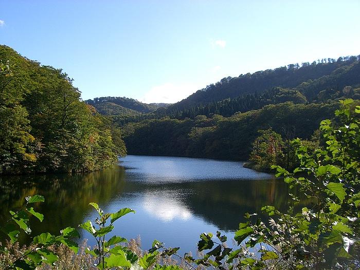 見渡す限りの原生林に抱かれた長沼。カヌーを漕ぎ、風のささやきに耳を澄ませ、湖水巡りをしたくなる。近くには千古の森キャンプ場や、西へ1.2km走ると広葉樹林が多い白沼があり、秋には美しく染まる